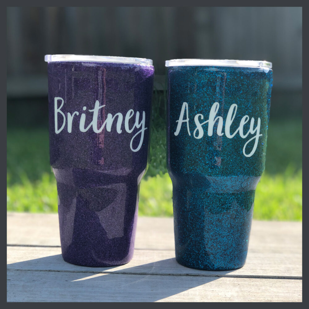 Personalized Stainless Glitter Name Tumbler