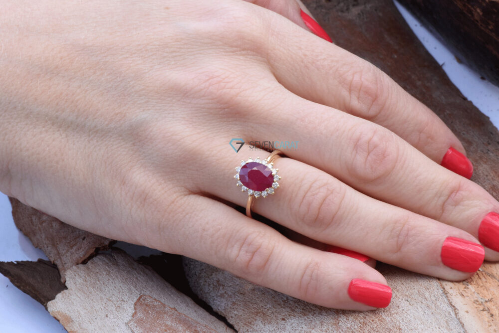 Vintage Engagement Ring Set-3.8 Ct Ruby Diamond Ring-Ruby Ring-Vintage Rings Engagement-Ruby Vintage-Promise Ring