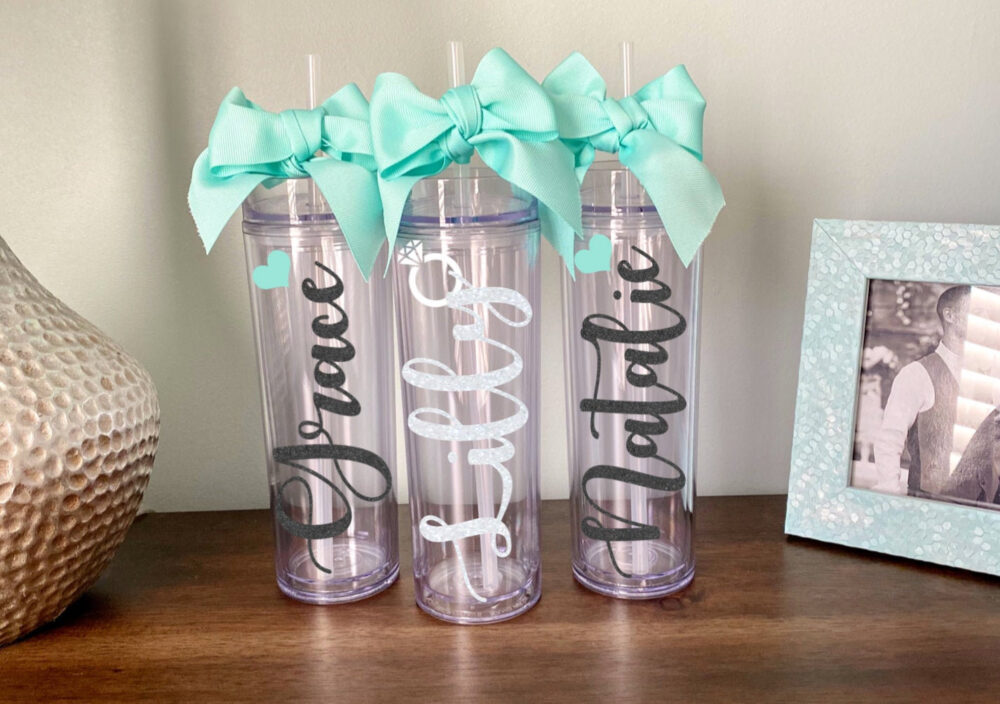 Glitter Bridesmaid Personalized Tumblers, Bachelorette Cups, Bridesmaids Gift, Tumbler Proposal Box, Skinny, Clear, Straw, Name, Heart, Ring
