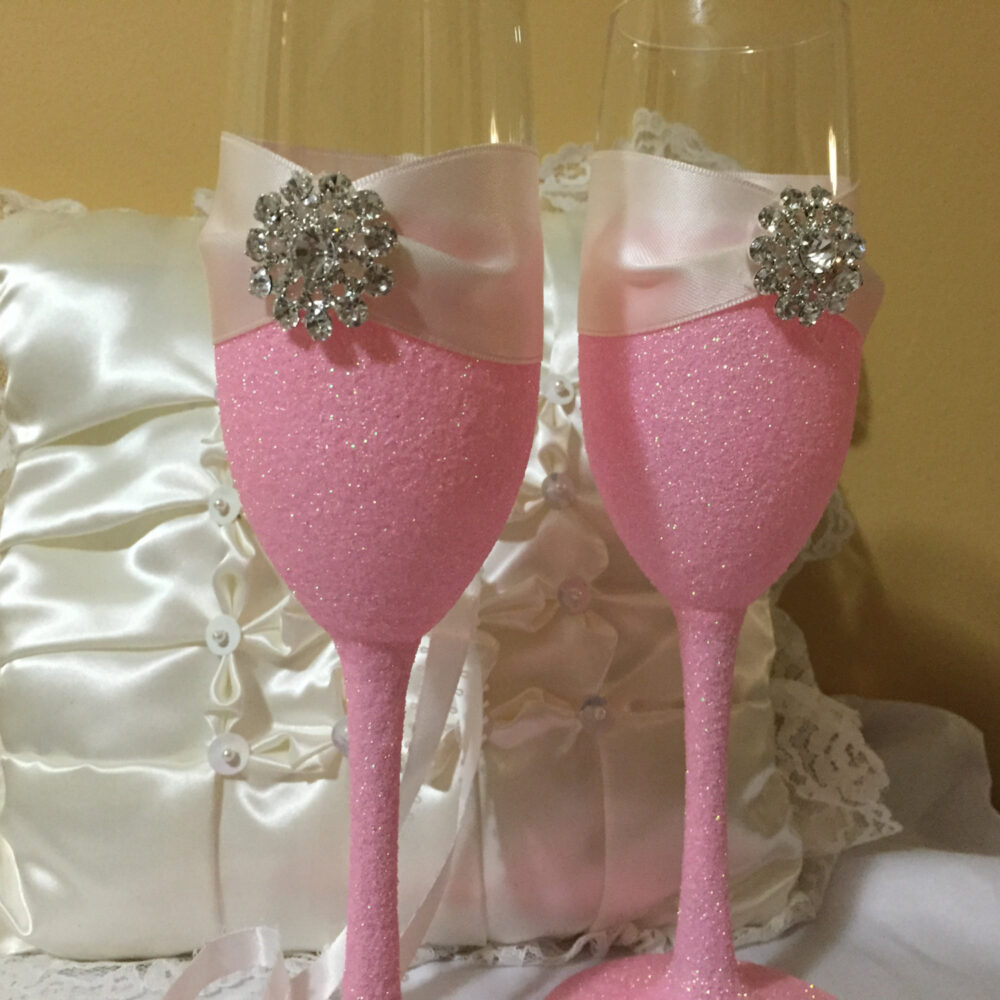 Wedding Toasting Flutes, Champagne Pink Glitter Glass, Princess Wedding, Glitter, Bridesmaid Gifts, Bridal Shower Gift