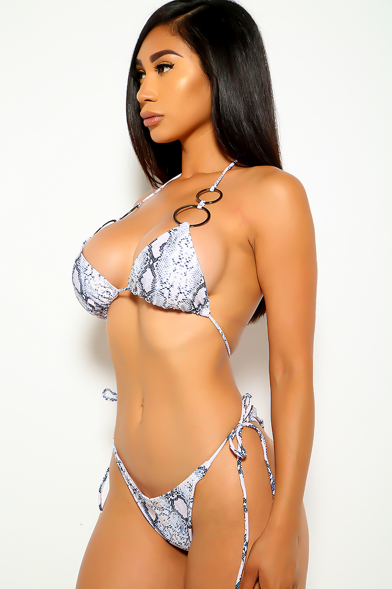 Snake Print O-Ring Two Piece Swimsuit