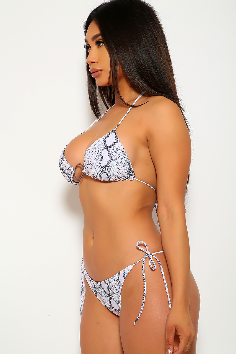 White Snake O-Ring Two Piece Swimsuit