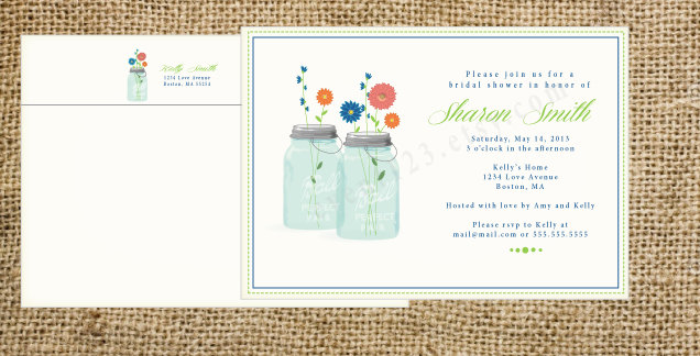 Custom Flower & Mason Jar Invitation | Wedding Or Bridal Shower