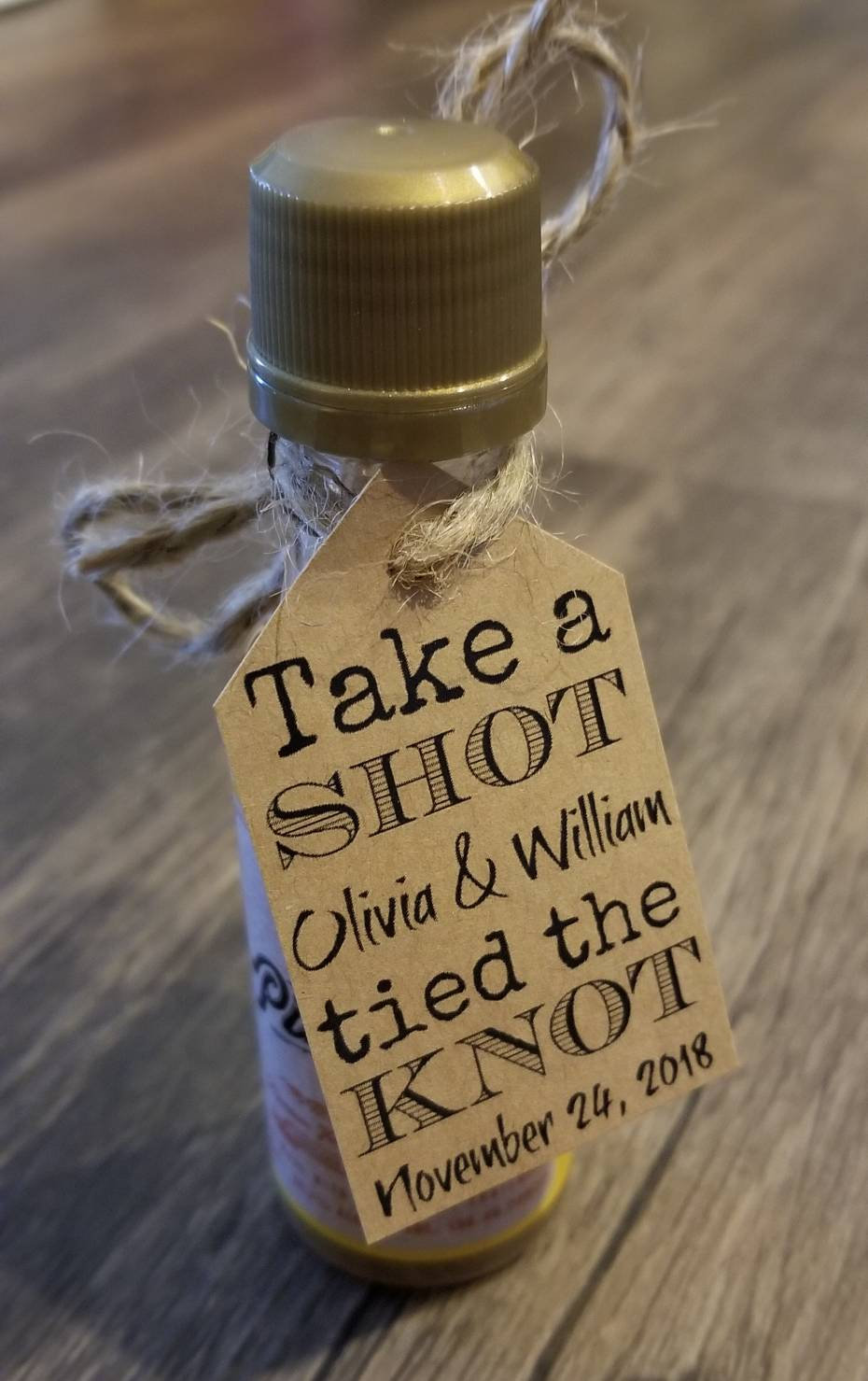 """30""""Take A Shot, We Tied The Knot"""" Diy Wedding Favor Kits Wedding Favors. Favor Tags. Personalized Rustic"""