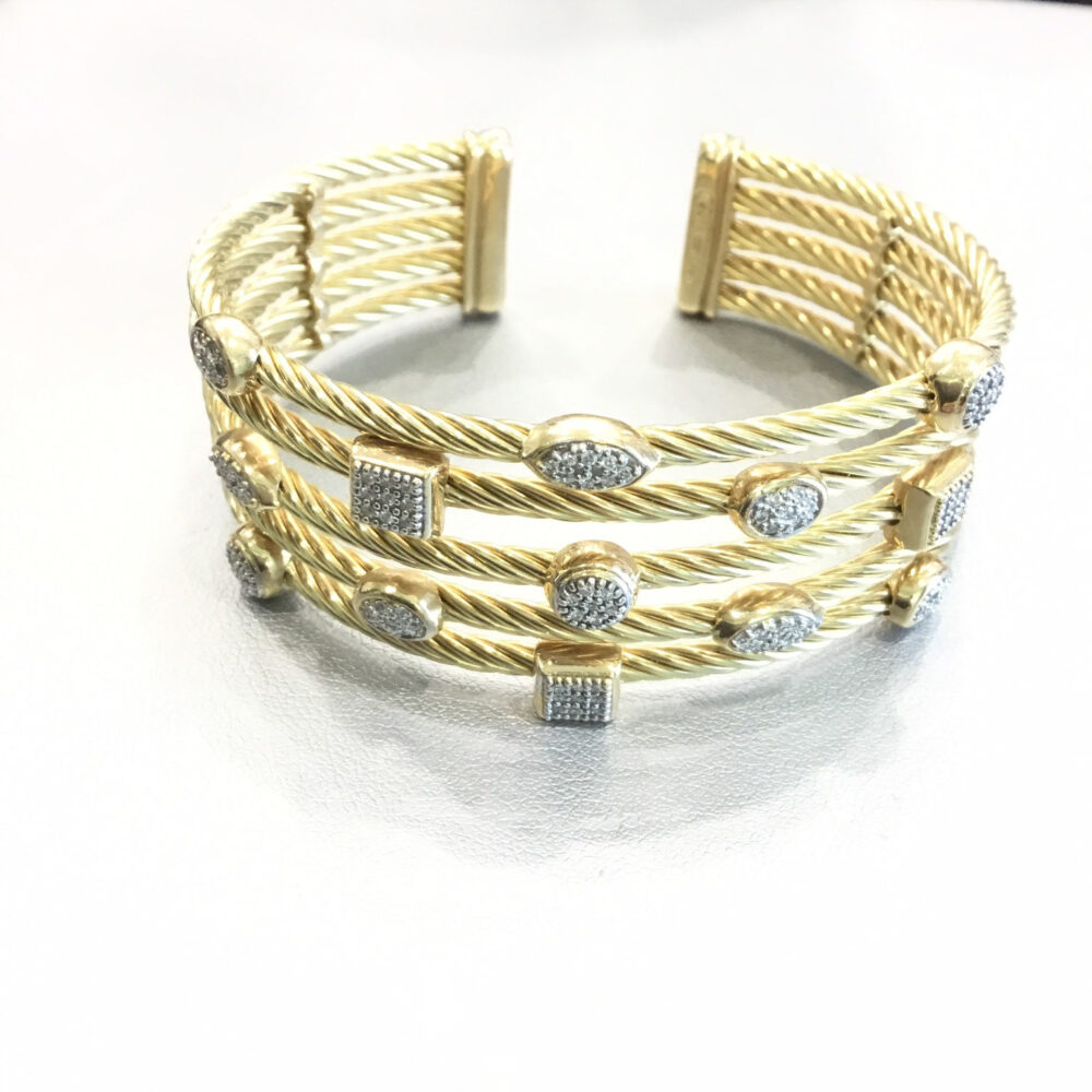"David Yurman 18K Yellow Gold 1"" Wide Confetti Diamond Cuff Bracelet"