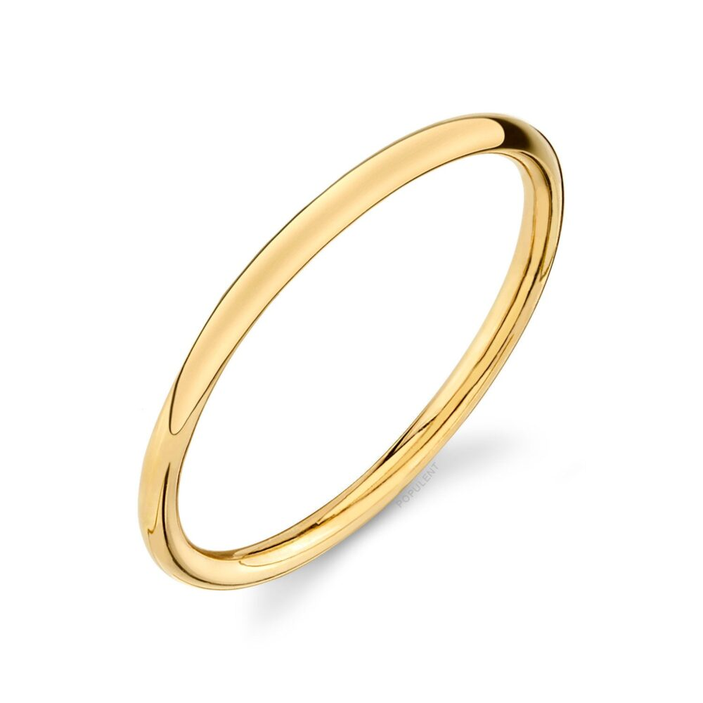 14K Yellow Gold Band | 1mm Thin | Dome Polished 1mm Midi Women's Wedding Ring Pink Simple Dainty Wire Stacking Knuckle 1.2mm