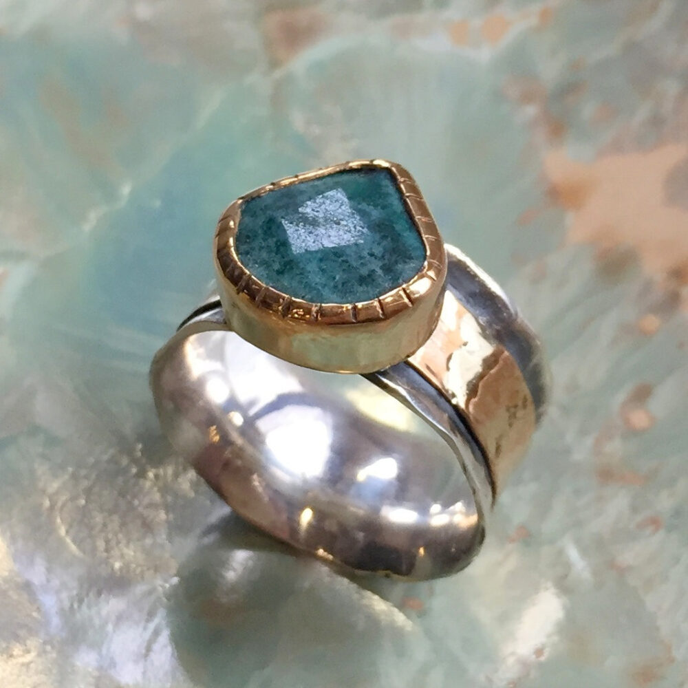 Apatite Ring, Silver Gold Band, Spinner Wedding Engagement Meditation Ring, Wide Ring - Dance Into The Light R2440