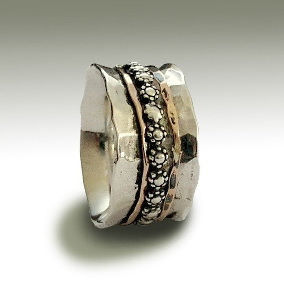 Wedding Band, Sterling Silver Band, Floral Spinner Ring, Meditation Stacking Gold Band - You'll Always Know R1019H