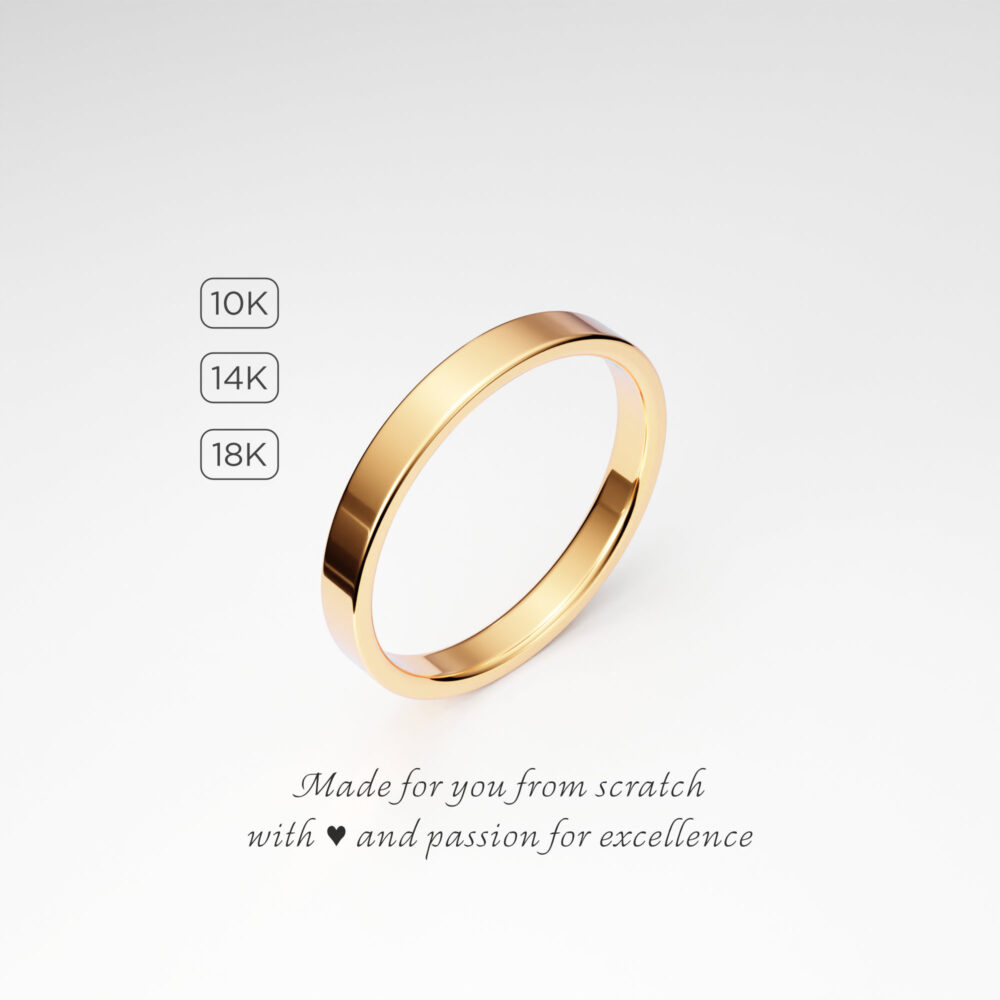 2.5mm Dainty Women's Wedding Ring Band, Flat Yellow Gold Tiny Minimal Plain Simple