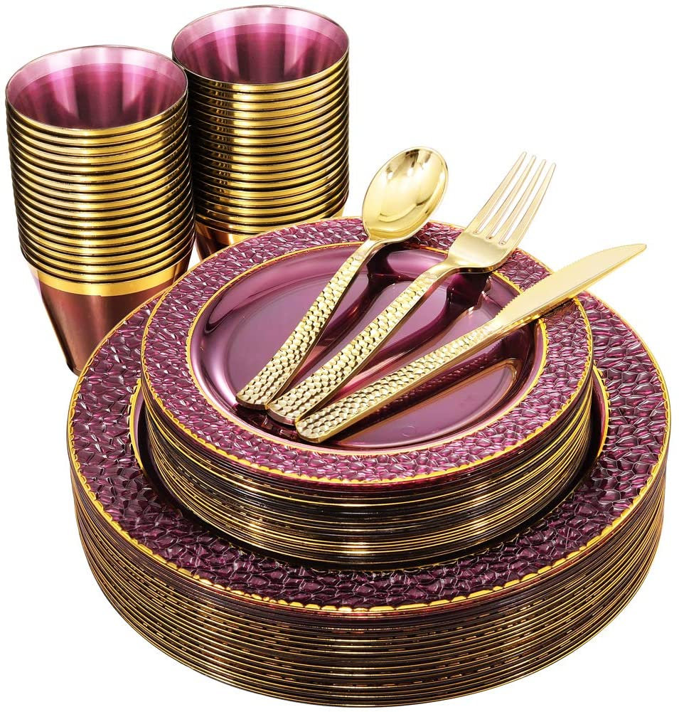 150Pcs Clear Purple Plastic Plates With Gold Rim &gold Silverware-Disposable Wedding Party Include25Dinner Plates-25