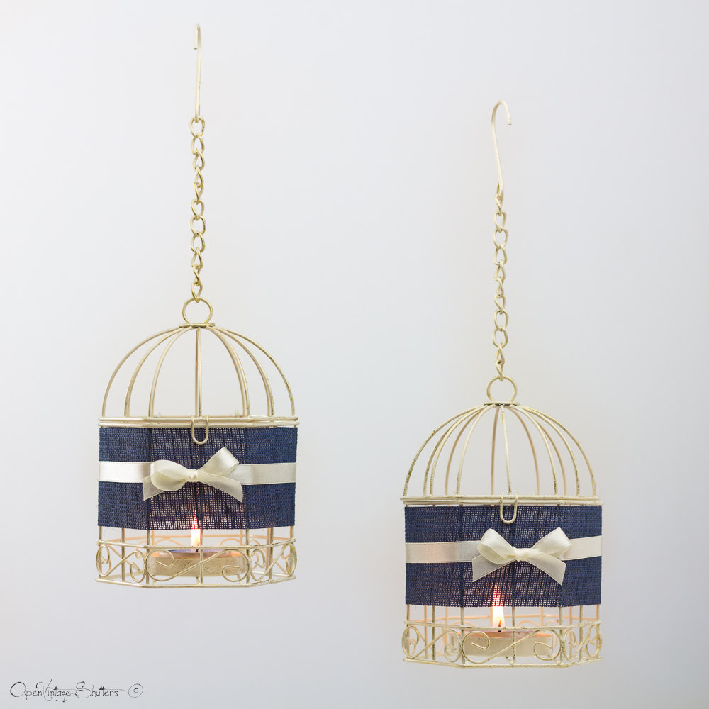 Bridesmaid Gifts Boho Nursery Decor Dorm Room Navy Bird Cages Blue Wedding Hanging Lanterns Tealight Candle Holder Set
