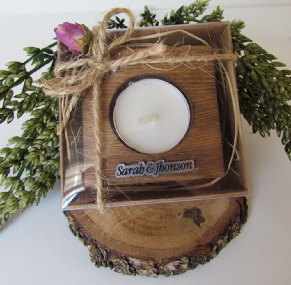 Rustic Wedding Favors, Natural Wood Tea Light Candle Holder, Personalized Decor, Favors With Candle & Customized Name Tag -Set Of 5