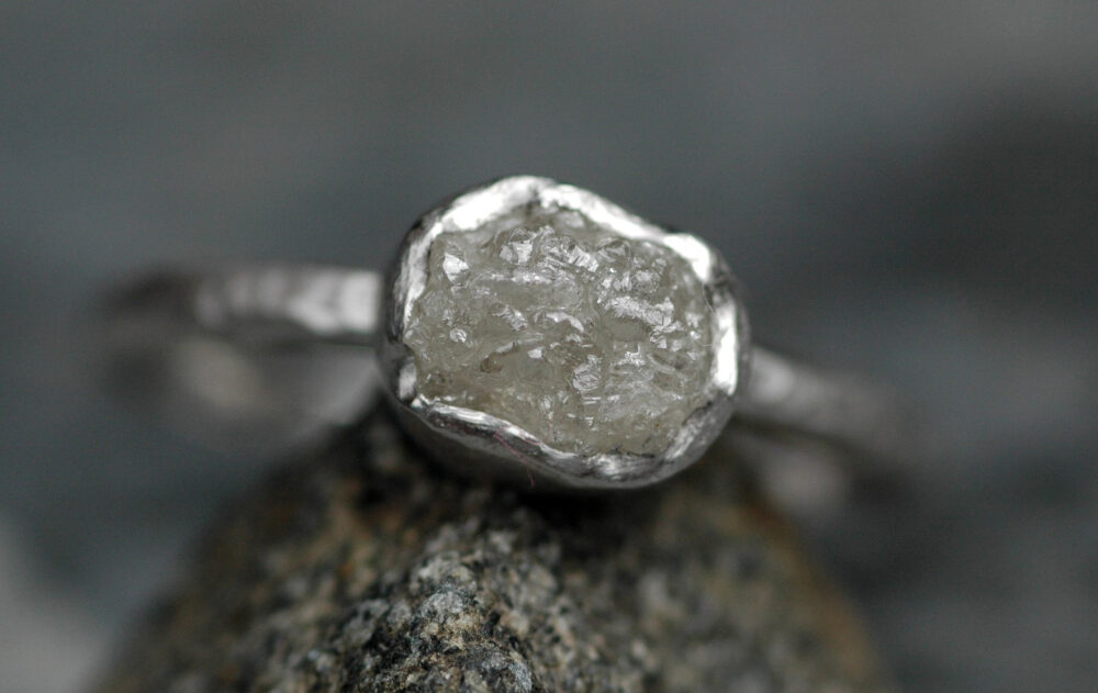Platinum & Conflict-Free Raw Diamond Engagement Ring With Hammered Band - Made To Order