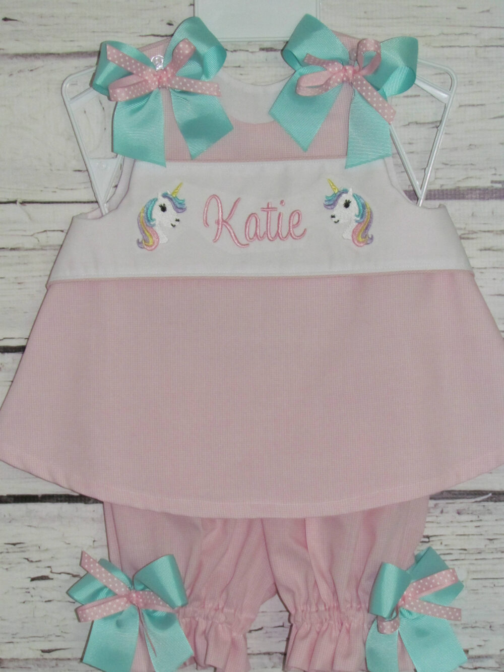 Unicorn Monogram A-Line Dress Swing Top Bloomer Set Birthday Outfit First