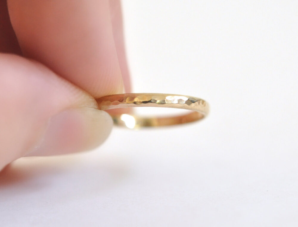 14K Gold Ring - Women's Wedding Band - Yellow Half Round 2mm Hammered Band