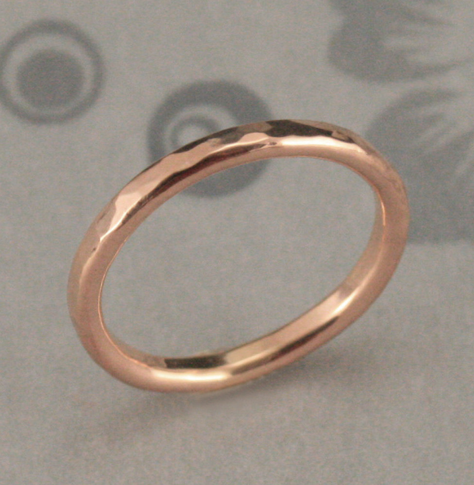 Rose Gold Hammered Band~Hammered Wedding Ring~Molten Lava~Gold Stacking Ring~2mm Round Band~Gold Ring~Gold Band