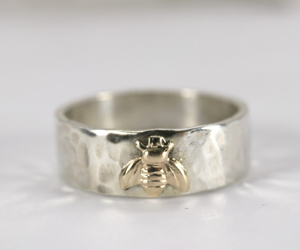 Honey Bee Ring, Sterling Silver Hammered Band & Gold Personalized Gift, Jewelry, Christmas Gift For Her