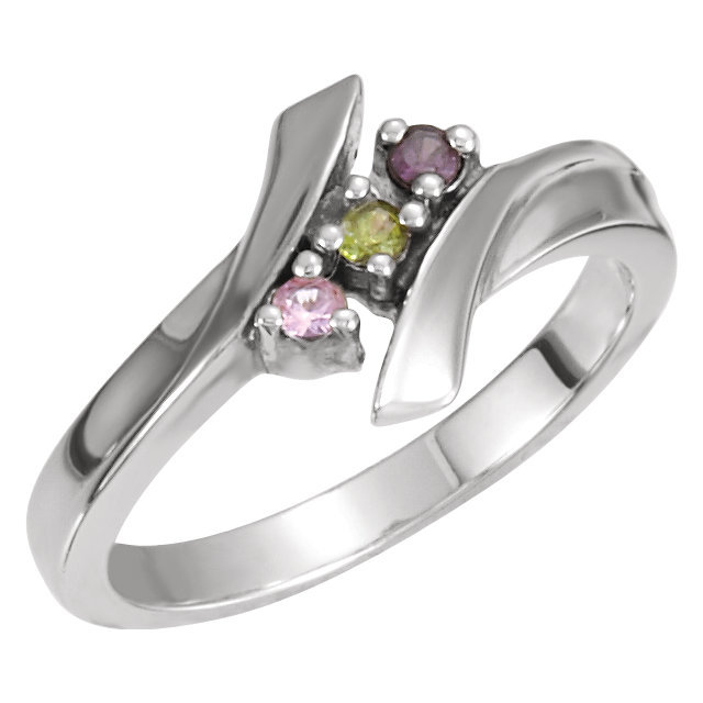 Family Birthstone Ring 1 - 7 Stones Sterling Silver Mother's Day