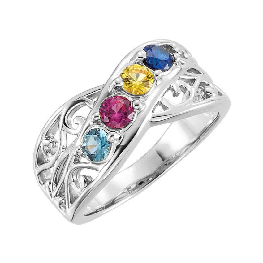 Family Birthstone Ring 2-5 Stones Personalized Sterling Silver Mother's Day