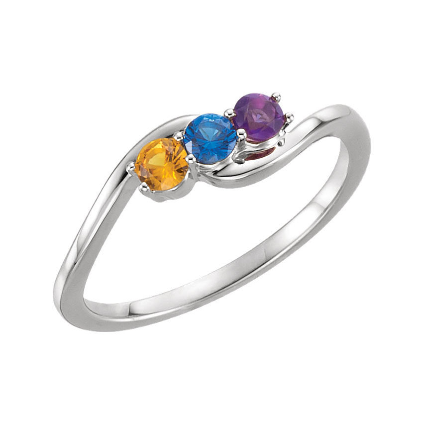 Family Birthstone Ring 1 - 5 Stones Sterling Silver Mother's Heirloom Jewelry
