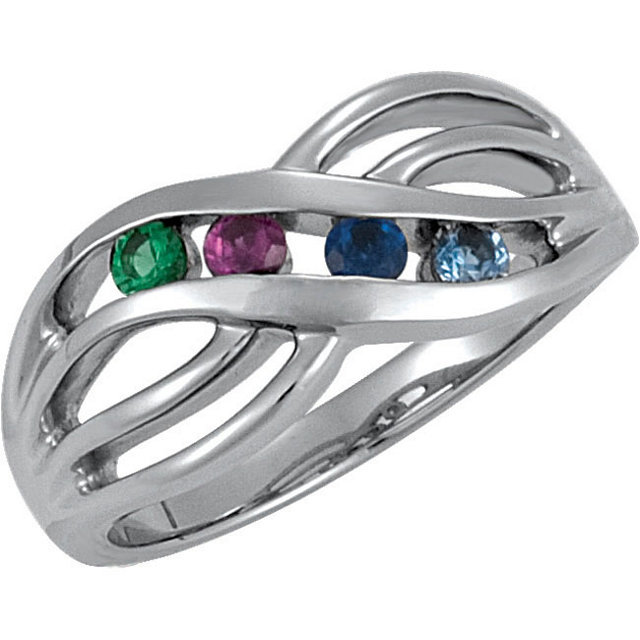 Channel Set Family Birthstone Ring 1 - 4 Stones Sterling Silver Mother's Day