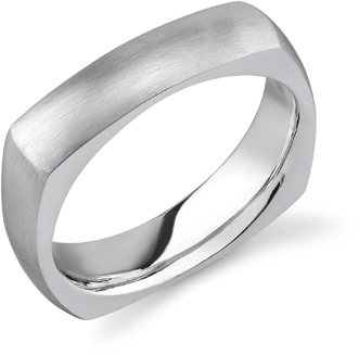 Square Silver Wedding Band Ring