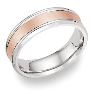 Plain Satin Wedding Band in 18K White and Rose Gold