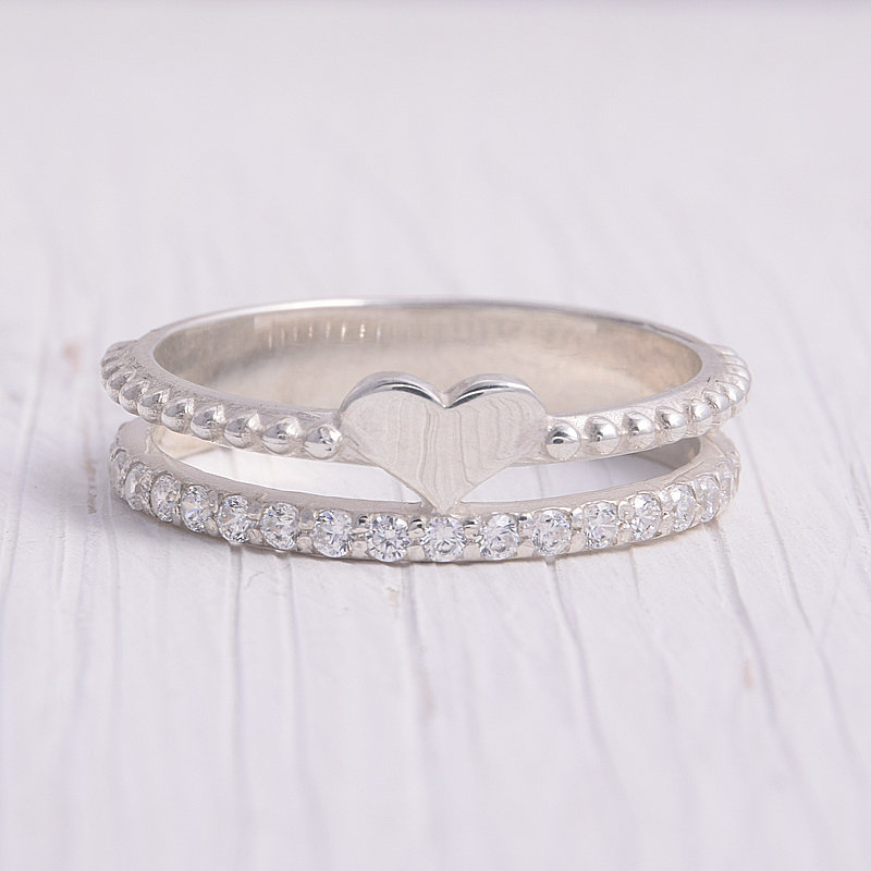 Unique Heart Wedding Band, Silver Womens Cz Band