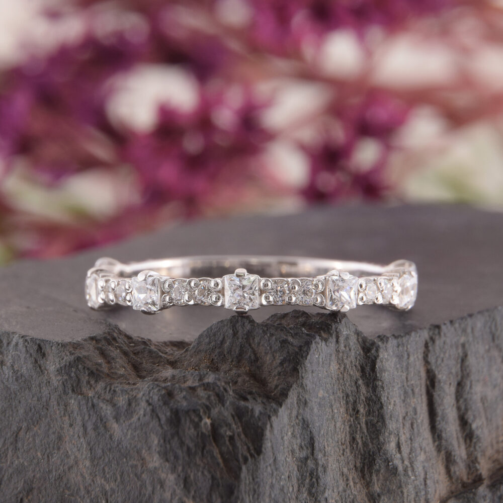 Wedding Bands Women, Silver Wedding Band, Cz Band For Her, Tiny Ring, Princess Cut Elegant Dainty Ring