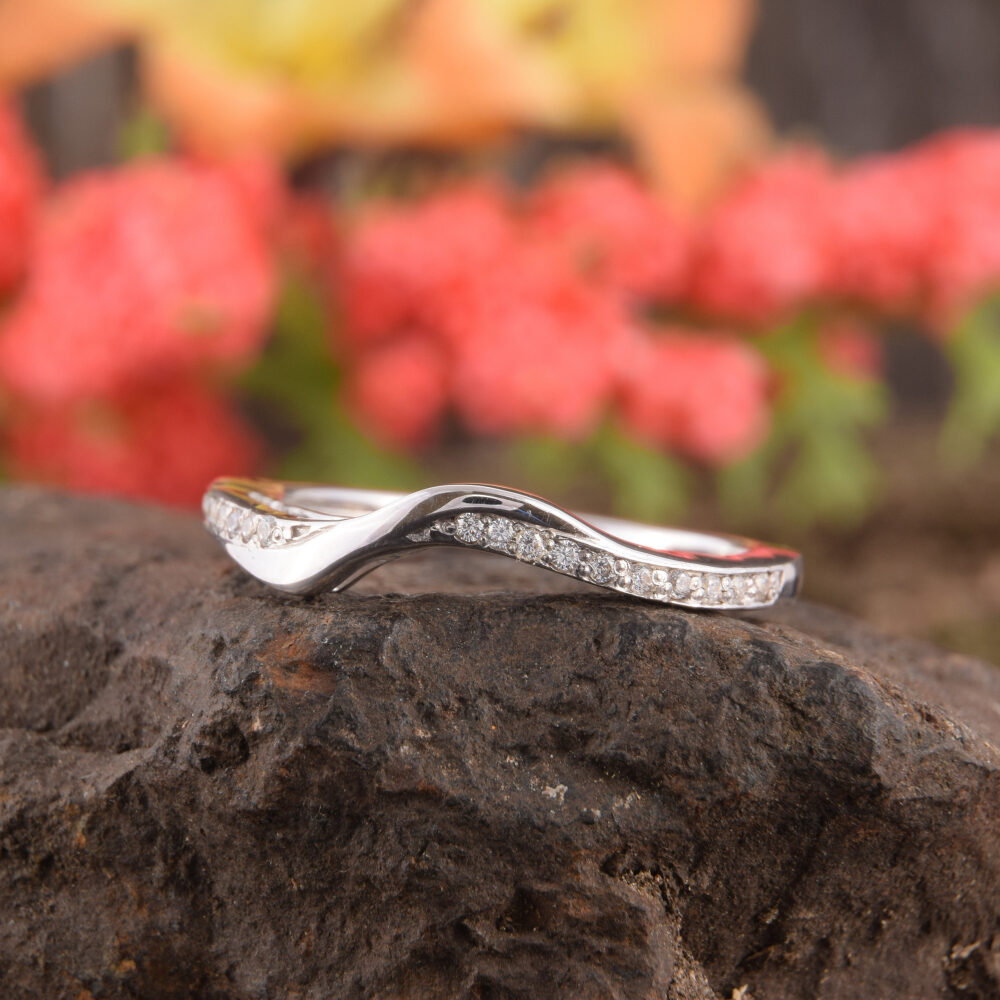 925 Sterling Silver Curved Chevron Womens Wedding Band, Unique Dainty & Elegant White Cz Band For Her, Simple V