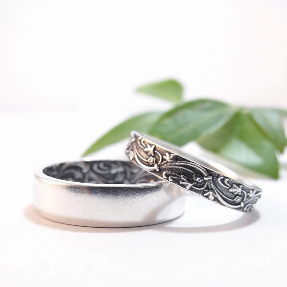Womens Wedding Band Set Ring Mens Sterling Silver Rings Ivy Floral Bands