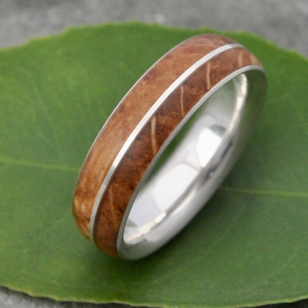 Bourbon Barrel Wood Ring, Asi, Wedding Band, Comfort Fit Mens Whiskey Silver Ring