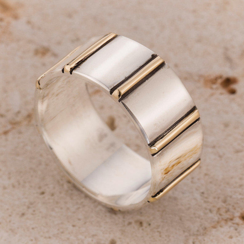 Two Tone Wedding Band, Wide Mens Sterling Silver Ring, Bands, Bands Women, Classic Band