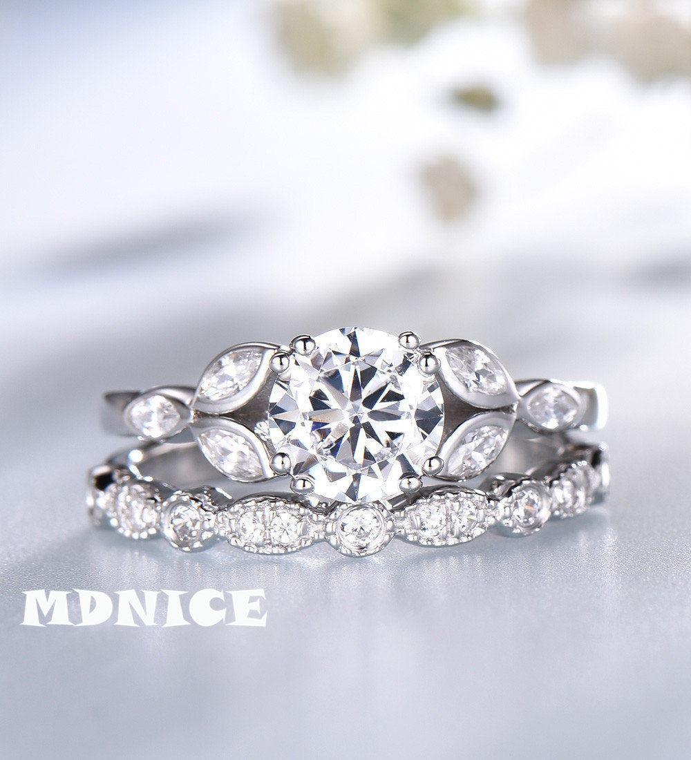 1.3 Ct Round Brilliant Cut Cubic Zirconia Engagement Ring Set Sterling Silver Wedding Art Deco Band Bridal