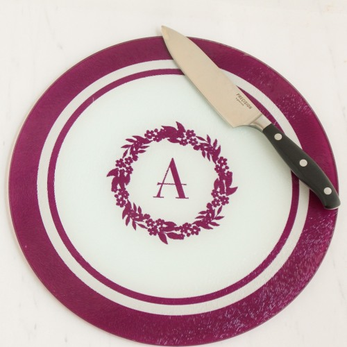 Round Personalized Tempered Glass Cutting Board
