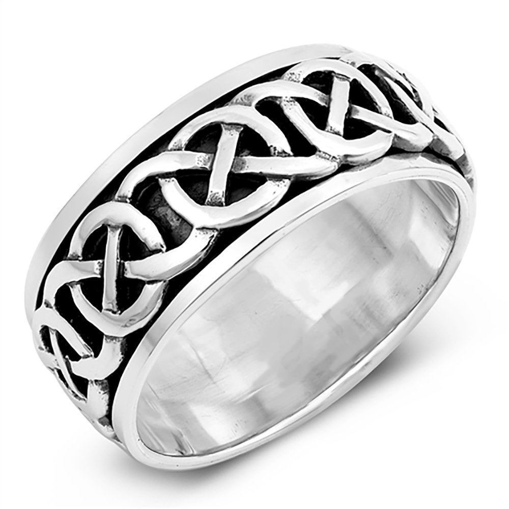 925 Sterling Silver Wedding Band Oxidized Finish Celtic Spinner Ring(Snrp142769