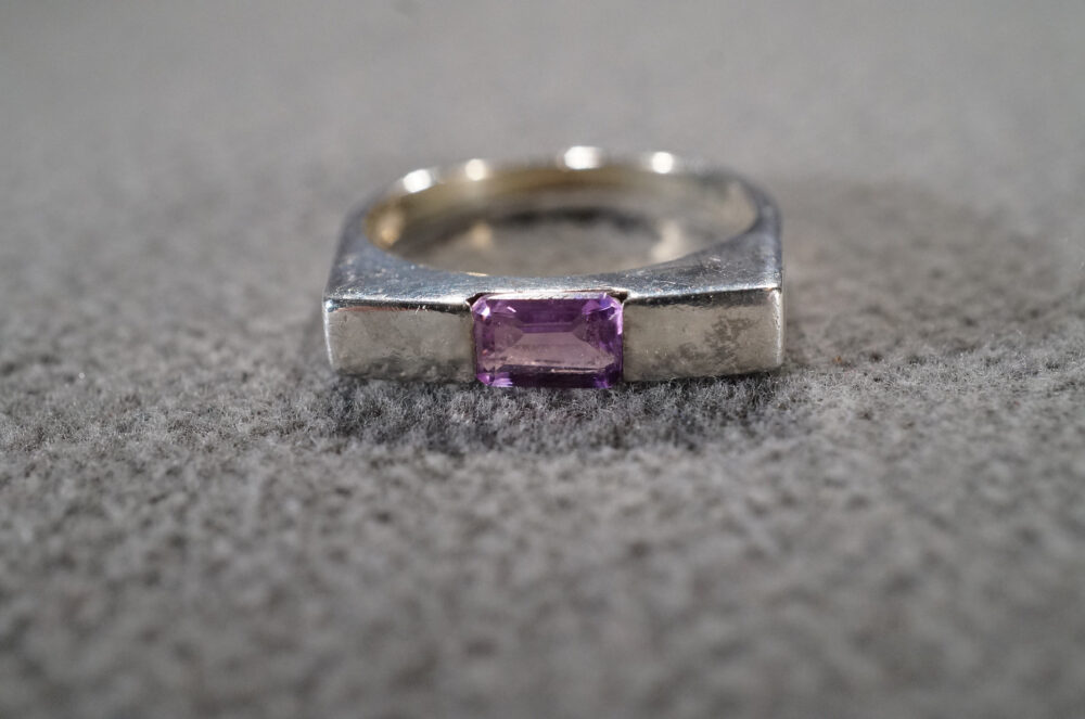 Vintage Sterling Silver Wedding Band Stacker Design Ring Rectangle Bezel Set Amethyst Sleek Smooth Setting Art Deco Style, Size 7