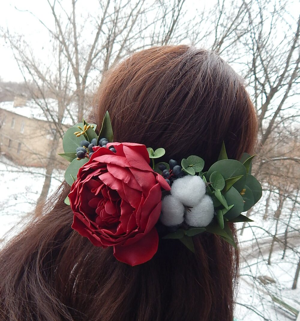 Burgundy Navy Blue Winter Wedding Flower Hair Comb Eucalyptus Halfcrown Floral Vine White Cotton Piece
