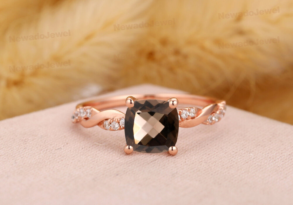 Natural Sparkling Diamond Wedding Ring, 7mm Cushion Cut Smoky Quartz 14K Gold Prong Set Promise Art Deco Cross Band Ring