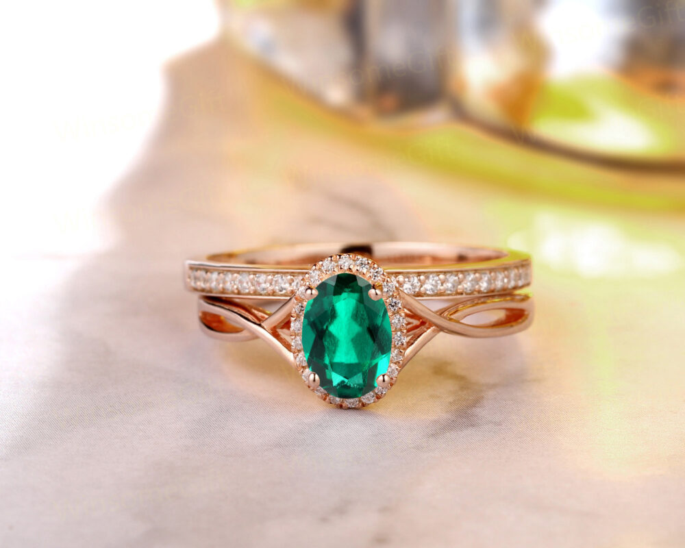 Vintage Fine Jewelry, 5x7mm Oval Cut Emerald Engagement Ring, 14K Gold Delicate Stack Cross Band Matching Art Deco Bridal Sets
