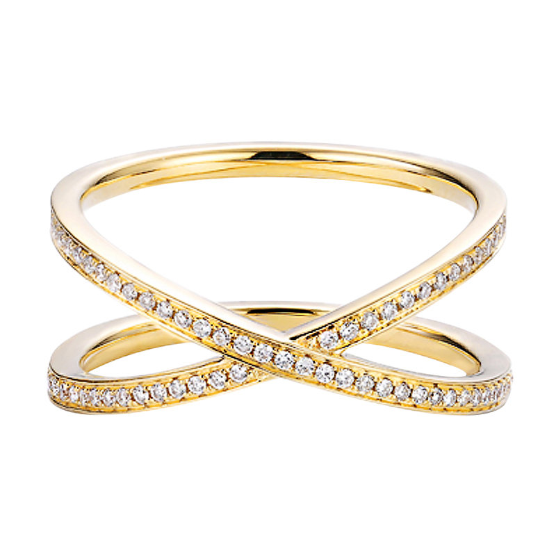 Double Band Cross Diamond Ring in Solid 18K Gold/Full Eternity Crisscross Wedding Ring/Custom Jewelry/Gift For Women & Girls