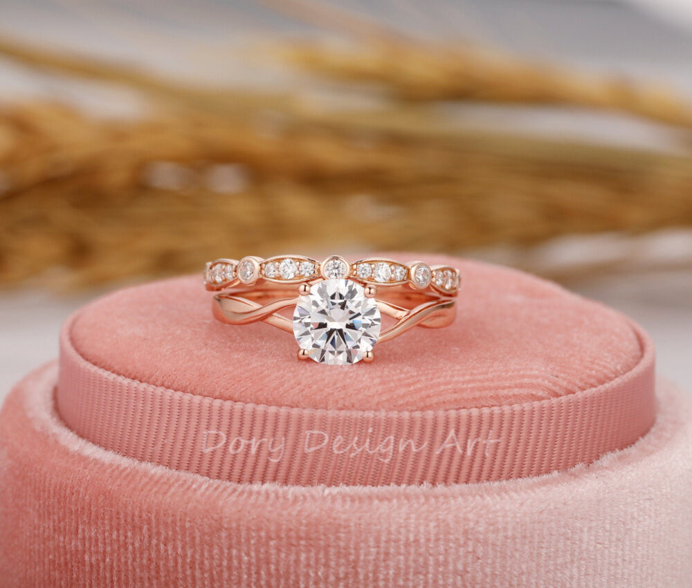 Unique Wedding Ring Set, Cross Band Design 7mm Round Cut Moissanite Ring, Silver Stackable Simulated Diamond Bridal Sets