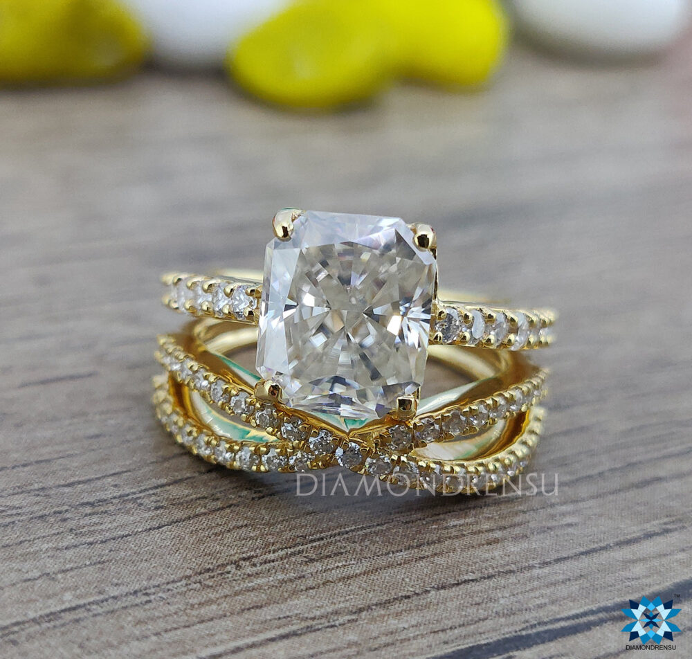 4.30 Tcw Bridal Set | Radiant Colorless Moissanite Ring Engagement Wedding Cross Over Band Yellow Gold