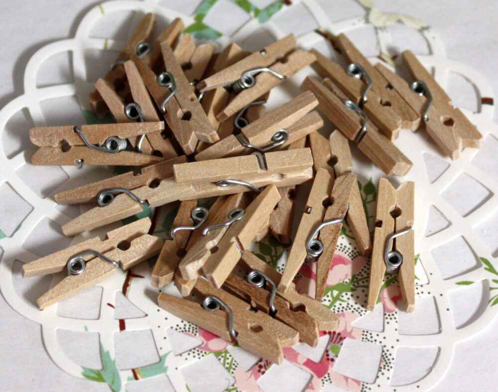 25 Small Mini Clothespins, 1 Inch Wedding Favors, Rustic Wedding, Woodsy, Gift Wrapping, Card Clips, Photo Clips