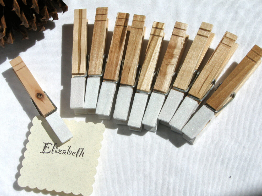 10 Wedding Clothespins Hand Painted White Glitter