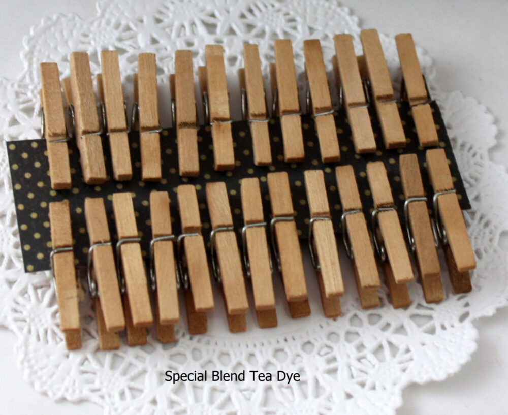100 Tea Stained 1 Inch Clothespins, Bag Clips, Photo Wish Tree Card Clips