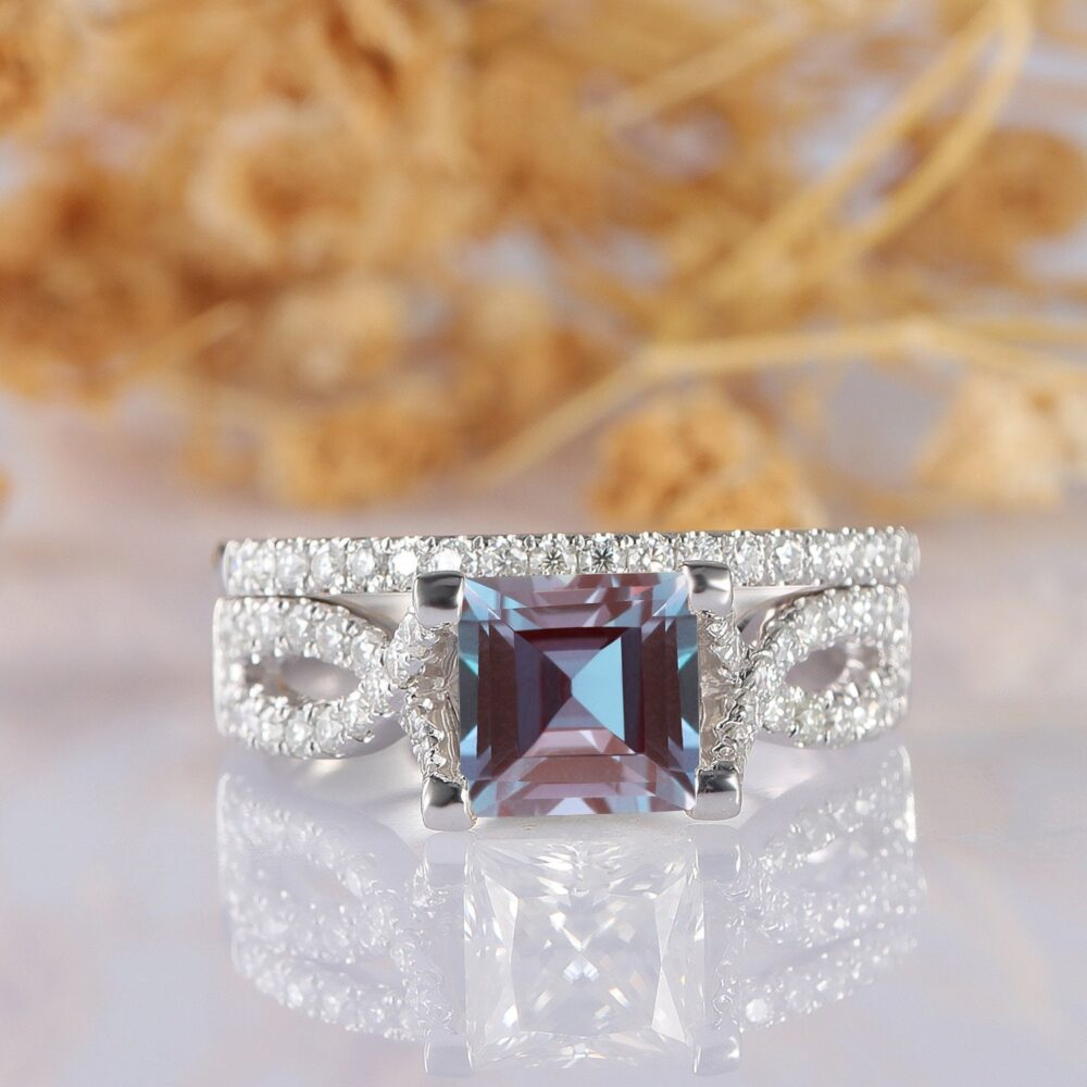 Delicate Wedding Set, Cross Band Princess Cut 6.5mm Alexandrite Ring, 14K Solid White Gold Accents Engagement Bridal Set