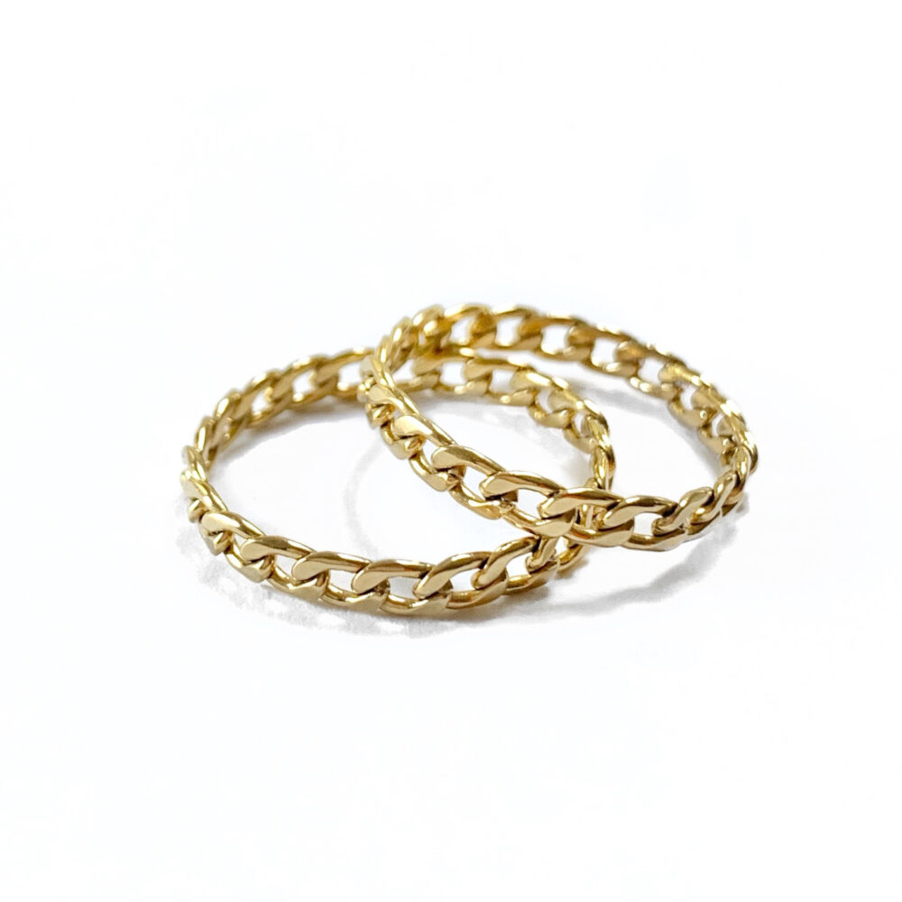 Dainty Chain Ring - Gold Stainless Steel Sister Rings Matching Best Friend Delicate in Gift For Sisters