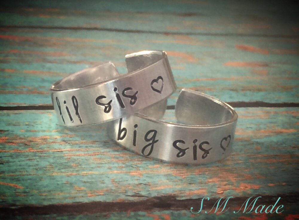 Big Sister, Little Sister Ring Set - Hand Stamped Very Sturdy Great Gift Fun Piece Of Jewelry