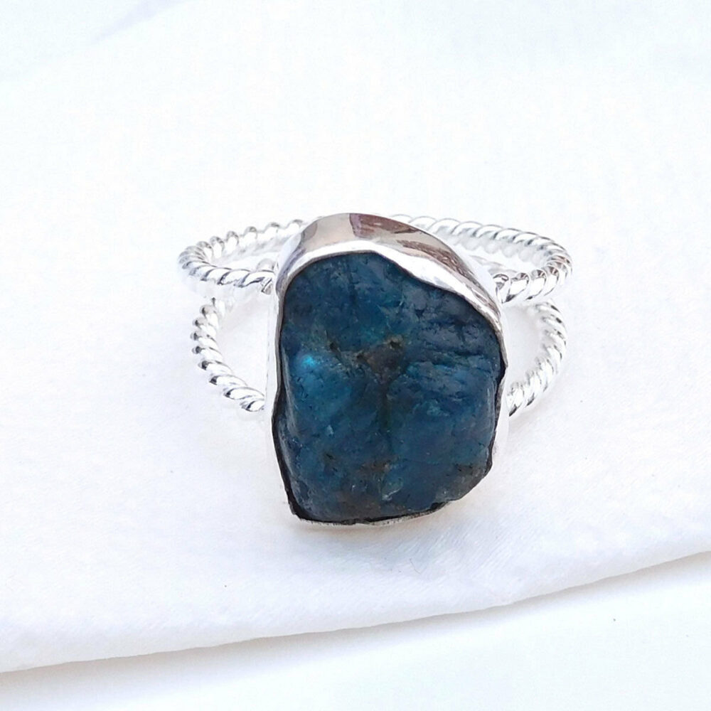 Apatite Sterling Silver Ring, 925 Anniversary Gift For Sister, Ring Gift, Gemstone Christmas Statement